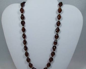 SALE 50% OFF Vintage dark topaz beaded necklace rootbear colored