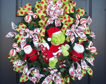 Grinch Wreath, Christmas Wreath, Lighted Christmas Wreath, Prelit Wreath, Grinch Christmas Decor, Christmas Decoration Red Lime and White