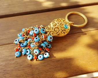 Gold Filigree Fish Charm Keychain