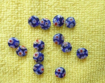 Bead, Millefiori Glass 8mm Blue Coin Bead with Red Design.  Pack of 17 Beads.