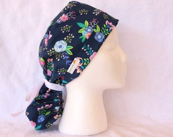 Scrub Cap, Ponytail Scrub Cap, Scrub Ponytail Hat - Medical Pony Tail Cap, Modern Floral on Navy Blue