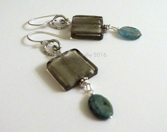 Earrings: Gray Foil Glass with Blue Quartz and Israeli Silver by Sarah Wiley Jewelry 160019GQ