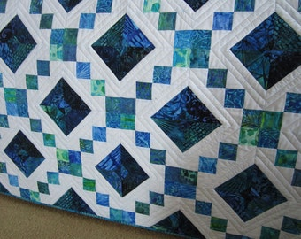 Handmade Quilt, Batik Quilt, Patchwork Quilt, Lap Quilt, Quilted Throw, Homemade Quilt, Sofa Quilt, Home Decor, Blue Turquoise Quilt