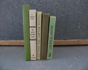 Vintage Book Mix, small, Stack, green, cream, Instant Collection, Props, Home Decor