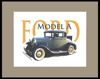 "FORD MODEL A Framed and Matted Print 16""x20"""