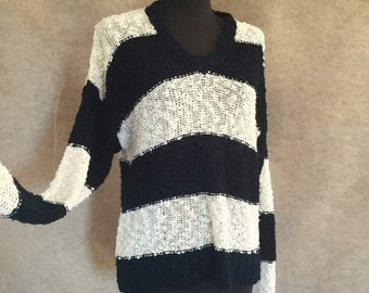Vintage 80's Striped Sweater, Navy Blue and White, Slouchy Knit V Neck, Size Medium