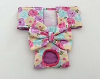 Female Dog Diaper - Britches - Dog Panty / Panties- Pastel Roses - Available in all Sizes