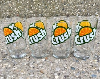 Retro Set of 4 Orange Crush Drinking Glasses