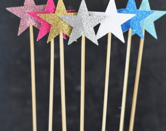 Sparkly Glitter Star Cake Pop Wands and Dessert Toppers - star dessert toppers in wide range of glitter colors