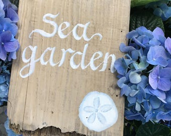 Painted Driftwood Sea Garden Sign, Home And Living Outdoor Garden Decor, Nautical Beach Coastal Cottage Decoration, Mothers Day Gift