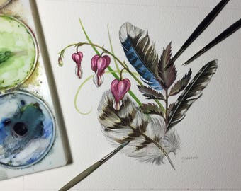 Spring Botanical/Feather study - Original Watercolour Painting