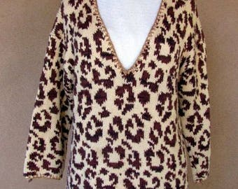 "Vintage 80's - Animal Print 100% Cotton ""V"" Neck Sweater"