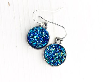 Faux Druzy Earrings / Gift Under 10 Bridesmaids Bridal Party Wedding Favors Boho Bohemian Lover Blue Gypsy Style Silver Round Disks Dangly