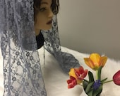 Gray lace  net headcovering - Church or Chapel veil mantilla scarf NEW