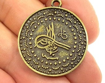 3 Antique Bronze Charms Ottoman Coin Signature Charms (28mm) G6651