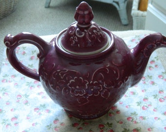 Burgandy Embossed Floral porcelain teapot