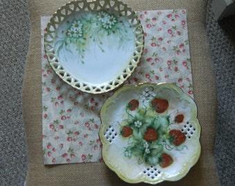 2 Vintage Lattice Dishes