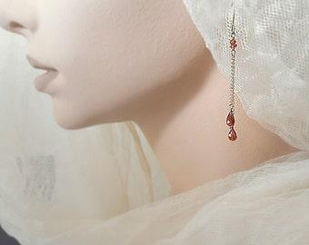 Dainty Garnet Earrings Red Garnet Gemstone Teardrop Earrings Minimalist Gemstone Earrings Garnet Dangle Earrings January Birthstone Birthday
