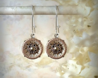 Vintage Silver and Copper Filigree Flower Button Earrings Etched Silver Copper Buttons Snowflake Mixed Metal Buttons, Choice of Settings