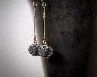 Survivor - Minimalist Sterling Silver Sterling Heart Earrings Dainty Silver Earrings Spiral Design on Reverse Side Strength Resilience