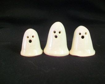 Ghosts - New Style with Carved Out Eyes and Mouth - Halloween Decor,  Set of 3 or 5 - Handmade on the Potters Wheel  - Ready to Ship NowNow