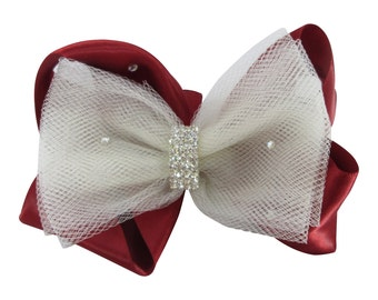 Scarlet Red & Ivory Bow,  Tulle and Satin Wedding Flower Girl Hair bow with rhinestone jewel bling bow clip/ baby