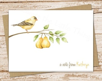 personalized pear note card . pears stationery . stationary . folded cards . bird, nature, pear tree notecards . fruit tree . set of 8
