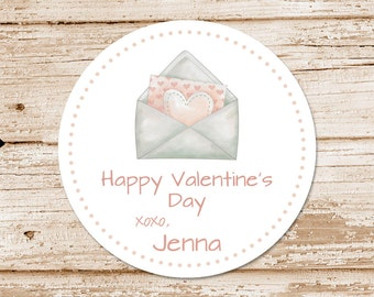 valentine's day tags or stickers . envelope card, hearts, love letter . watercolor . favor tags, gift tags . set of 12