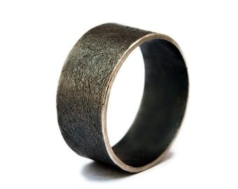 Silver Ring Women, Sterling Silver Band, Black Silver Band, Ring for Women, Rustic Band Ring, Unique Silver Rings, Wide Band Ring