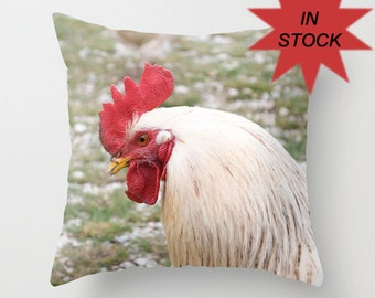 16x16 Rooster Throw Pillow Cover, Farmhouse Decor, Toss Cushion Case, Rustic, Kitchen Hen Accent, Gift for Chicken Producer, Barnyard Fowl