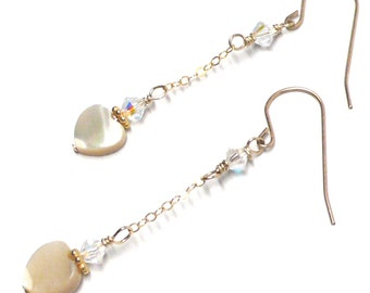 8mm heart earrings on chain mother-of-pearl sterling silver gold-filled Austrian Swarovski crystal pierced or clip-on