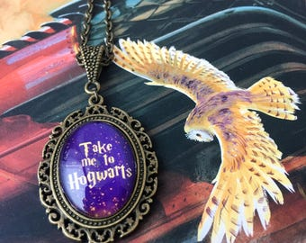 Small Take Me To Hogwarts Necklace - Harry Potter necklace - Hogwarts necklace - Hogwarts charm - Harry Potter pendant - bookish gift - HP