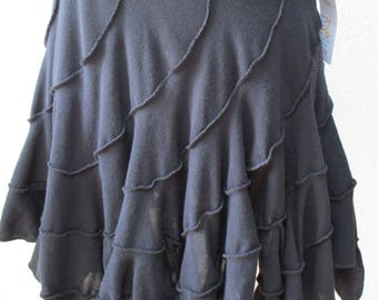 Black skirt with uneven ruffled edging custom made in U.S.A (v118)