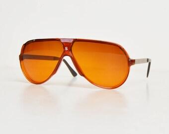 Vintage 70s 80s Brown Oversized Aviator Sunglasses Amber Lenses