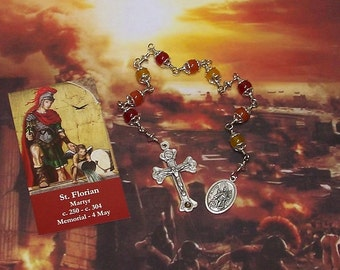 Unbreakable Relic Chaplet of St. Florian of Lorch - Patron Saint of Firefighters, Chimney Sweeps, Brewers and Against Drowning & Floods