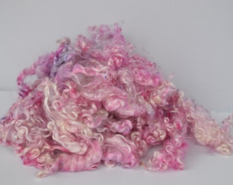 Kid Mohair Locks - Hand Painted Pinks with Touch of Lavender