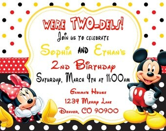 Mickey and Minnie Mouse Invitations, Birthday Invitations, Mickey Mouse Party Two-dels - Twin birthday