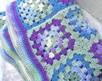 Beautiful vintage purple blue green white hand crochet afghan