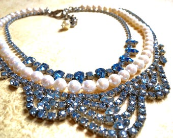 Something Blue Necklace with Pearl Rhinestones , Bridal Statement Jewelry