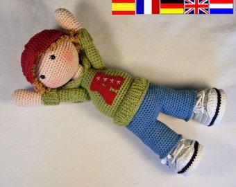 Crochet pattern for doll JOSH (Deutsch, English, Français,  Español, Nederlands)