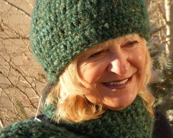 Winter accessories green crochet hat scarf set ski clothing women's fashion