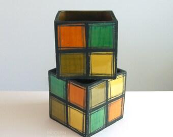 2 Rare Bitossi Quadrato Italian Multicolor Squares Modern Vase Planters