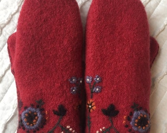 Sweater Mittens - Wool Mittens made from recycled sweaters - Felted  - red - embroidered flowers- upcycled sweater mittens
