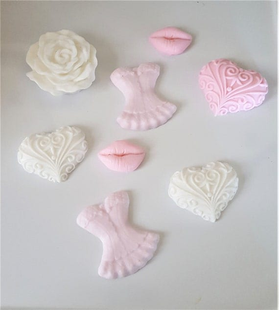 Corset Kisses Rose Valentine Soap Gift - Set of 10 - Valentine Gift Set - Soap Favor - gift for her