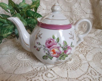 Pink Roses Teapot Porcelain Vintage at Quilted Nest
