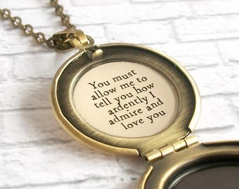 Pride and Prejudice Quote Locket Necklace Jane Austen Book Jewelry How Ardently I Admire and Love You
