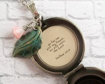 Joshua 24:15 Bible Verse Quote Locket Necklace Christian Family Jewelry Floral Scripture Pendant As For Me and My House