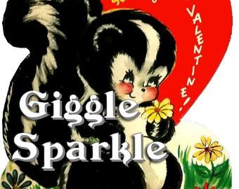 Adorable Skunk Valentine – Vintage Digital Download – Kitschy Cute Clipart –  2 Instant Download Printable Images –  Valentines Day