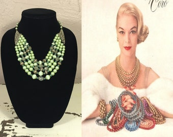 Lip Smacking Lime - Vintage 1950s Lime Green 5 Strand Faux Pearl Necklace w/Rhinestone Baubles