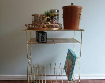 Rolling Record Cart, Brass Wire and Filligree Mesh 50s Mod Century Shelves, Gold Wire Rack for Vinyl Record Collection,  Decor Vintage
